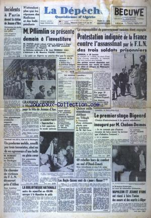 DEPECHE QUOTIDIENNE D'ALGERIE (LA) no:3062 11/05/1958
