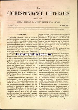CORRESPONSDANCE LITTERAIRE (LA) no:9 25/07/1864