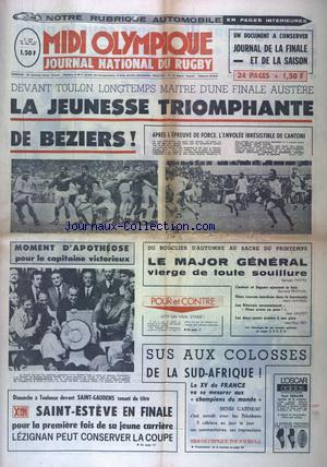 MIDI OLYMPIQUE JOURNAL NATIONAL DU RUGBY no:2992 17/05/1971