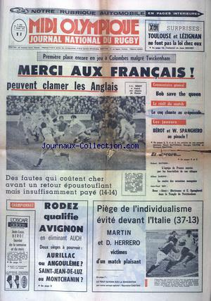 MIDI OLYMPIQUE JOURNAL NATIONAL DU RUGBY no:2981 02/03/1971