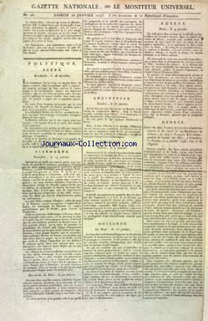 GAZETTE NATIONALE OU LE MONITEUR UNIVERSEL (LA) no:26 26/01/1793