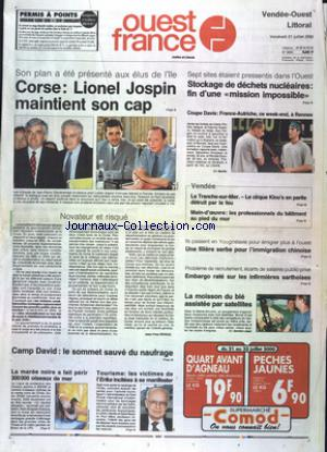 OUEST FRANCE VENDEE OUEST LITTORAL no:16943 21/07/2000