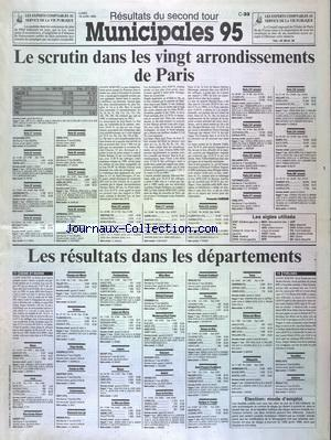 FIGARO RESULTATS DU SECOND TOUR MUNICIPALES 95 (LE) no: 19/06/1995