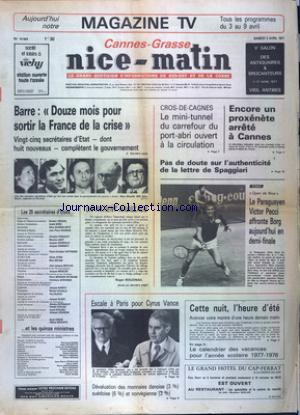 NICE MATIN CANNES GRASSE no:10684 02/04/1977