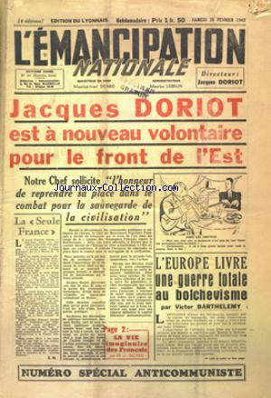 EMANCIPATION NATIONALE EDITION DU LYONNAIS (L') no:337 20/02/1943
