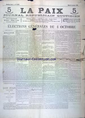 PAIX JOURNAL REPUBLICAIN QUOTIDIEN (LA) no:2323 06/10/1885