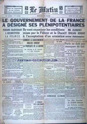 MATIN EDITION DE PARIS (LE) no:20538 20/06/1940