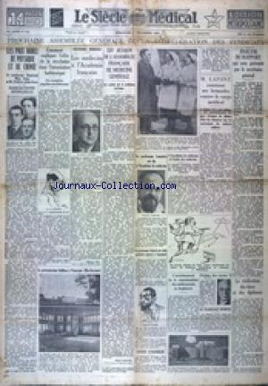 SIECLE MEDICAL EDITION METROPOLITAINE 5 EME EDITION (LE) no:212 01/12/1935