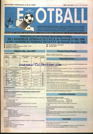 FOOTBALL NORD PAS DE CALAIS no:280 17/06/1996
