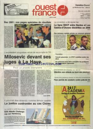 OUEST FRANCE VENDEE OUEST LITTORAL no:17238 04/07/2001