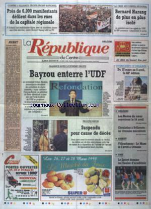 REPUBLIQUE DU CENTRE (LA) no:15585 26/03/1998