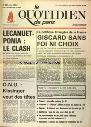 QUOTIDIEN DE PARIS (LE) no:493 13/11/1975