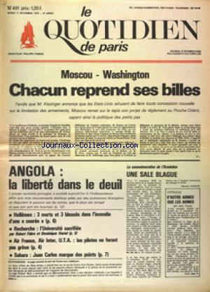 QUOTIDIEN DE PARIS (LE) no:491 11/11/1975
