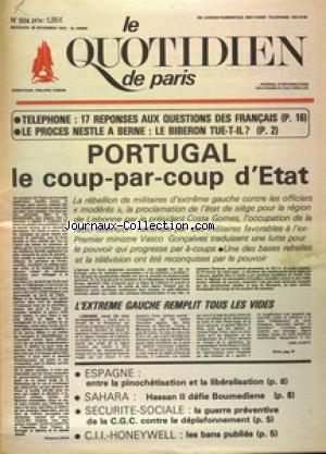 QUOTIDIEN DE PARIS (LE) no:504 26/11/1975