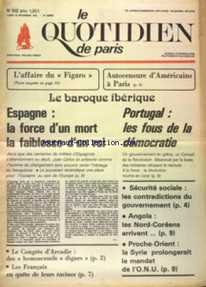 QUOTIDIEN DE PARIS (LE) no:502 24/11/1975