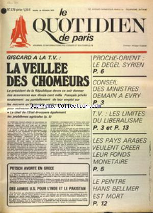 QUOTIDIEN DE PARIS (LE) no:279 25/02/1975