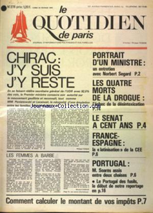 QUOTIDIEN DE PARIS (LE) no:278 24/02/1975