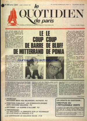 QUOTIDIEN DE PARIS (LE) no:260 03/02/1975