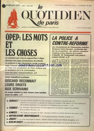 QUOTIDIEN DE PARIS (LE) no:285 04/03/1975