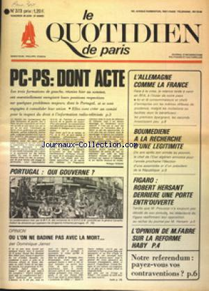 QUOTIDIEN DE PARIS (LE) no:373 20/06/1975