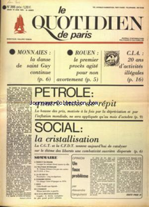 QUOTIDIEN DE PARIS (LE) no:366 12/06/1975