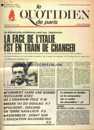 QUOTIDIEN DE PARIS (LE) no:370 17/06/1974