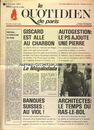 QUOTIDIEN DE PARIS (LE) no:374 21/06/1975
