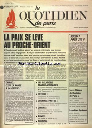 QUOTIDIEN DE PARIS (LE) no:286 05/03/1975