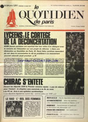 QUOTIDIEN DE PARIS (LE) no:294 14/03/1975