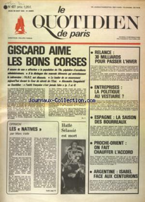 QUOTIDIEN DE PARIS (LE) no:427 28/08/1975