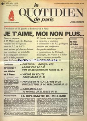 QUOTIDIEN DE PARIS (LE) no:422 22/08/1975