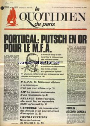 QUOTIDIEN DE PARIS (LE) no:292 12/03/1975