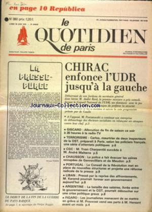 QUOTIDIEN DE PARIS (LE) no:380 30/06/1975
