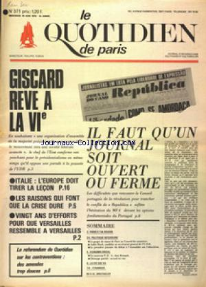 QUOTIDIEN DE PARIS (LE) no:371 18/06/1975