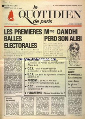 QUOTIDIEN DE PARIS (LE) no:379 28/06/1975