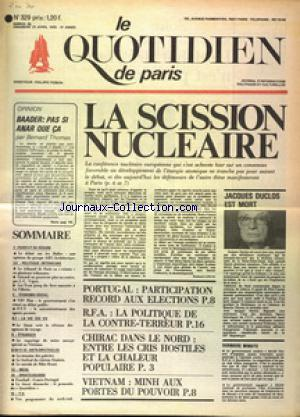 QUOTIDIEN DE PARIS (LE) no:329 26/04/1975