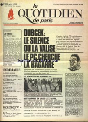 QUOTIDIEN DE PARIS (LE) no:321 17/04/1975