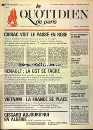 QUOTIDIEN DE PARIS (LE) no:316 10/04/1975