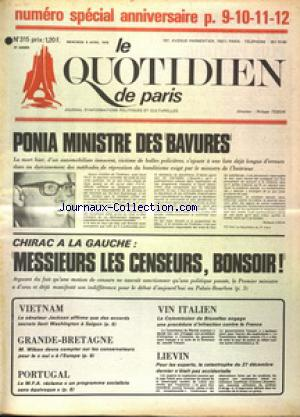QUOTIDIEN DE PARIS (LE) no:315 09/04/1975