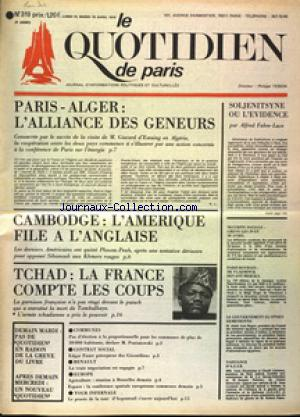 QUOTIDIEN DE PARIS (LE) no:319 15/04/1975