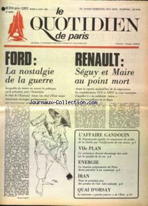 QUOTIDIEN DE PARIS (LE) no:314 08/04/1975