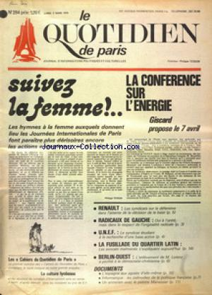 QUOTIDIEN DE PARIS (LE) no:284 03/03/1975
