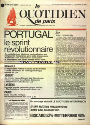 QUOTIDIEN DE PARIS (LE) no:296 17/03/1975