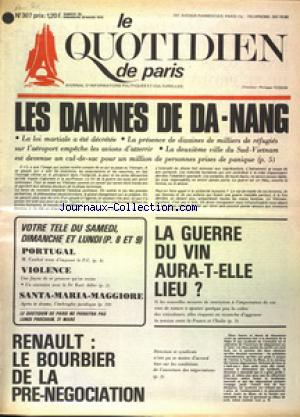 QUOTIDIEN DE PARIS (LE) no:307 29/03/1975
