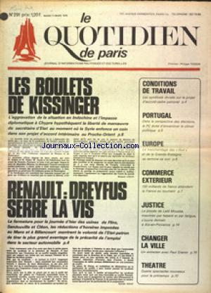QUOTIDIEN DE PARIS (LE) no:291 11/03/1975