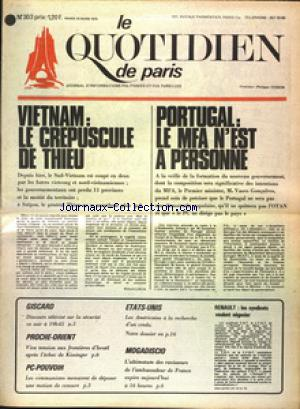 QUOTIDIEN DE PARIS (LE) no:303 25/03/1975
