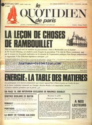 QUOTIDIEN DE PARIS (LE) no:313 07/04/1975