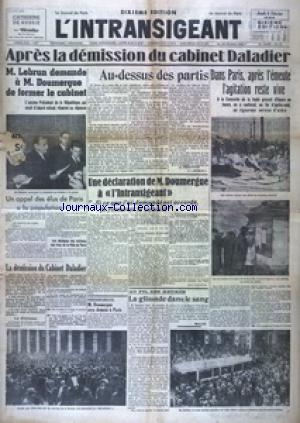INTRANSIGEANT SIXIEME EDITION  (L') no: 08/02/1934