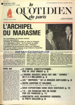 QUOTIDIEN DE PARIS (LE) no:401 25/07/1975