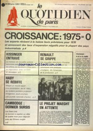 QUOTIDIEN DE PARIS (LE) no:289 08/03/1975